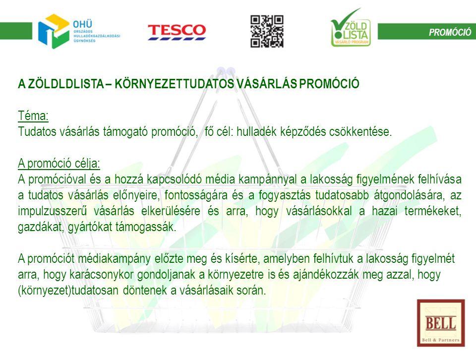 A ZÖLDLDLISTA – KÖRNYEZETTUDATOS VÁSÁRLÁS PROMÓCIÓ Téma: Tudatos vásárlás támogató promóció, fő cél: hulladék képződés csökkentése.