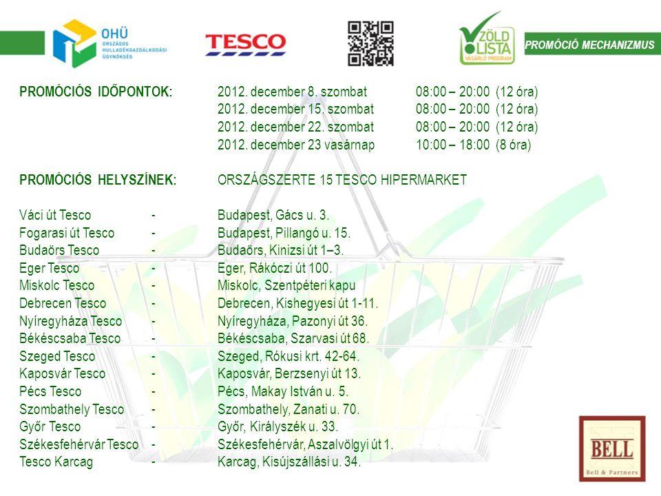PROMÓCIÓS IDŐPONTOK: 2012. december 8. szombat 08:00 – 20:00 (12 óra) 2012.