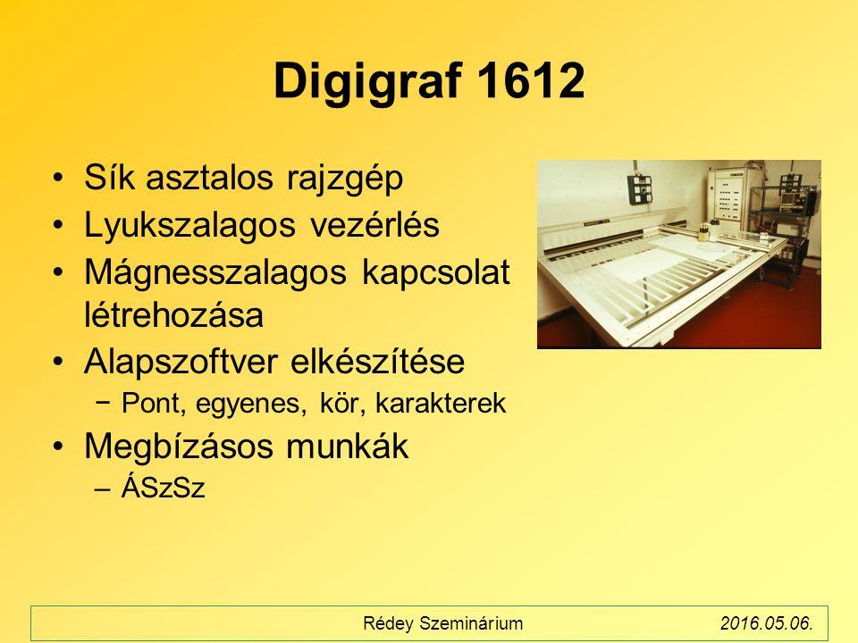 Digigraf 1612 Sík asztalos rajzgép Lyukszalagos vezérlés Mágnesszalagos kapcsolat létrehozása Alapszoftver elkészítése −Pont, egyenes, kör, karakterek Megbízásos munkák –ÁSzSz Rédey Szeminárium2016.05.06.