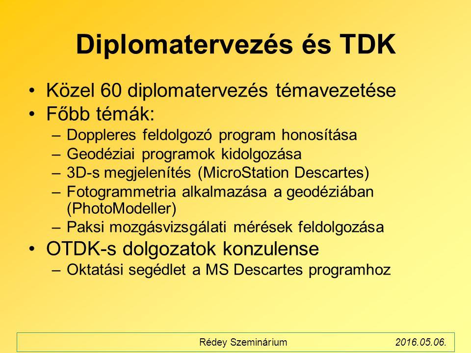 Diplomatervezés és TDK Közel 60 diplomatervezés témavezetése Főbb témák: –Doppleres feldolgozó program honosítása –Geodéziai programok kidolgozása –3D-s megjelenítés (MicroStation Descartes) –Fotogrammetria alkalmazása a geodéziában (PhotoModeller) –Paksi mozgásvizsgálati mérések feldolgozása OTDK-s dolgozatok konzulense –Oktatási segédlet a MS Descartes programhoz Rédey Szeminárium2016.05.06.