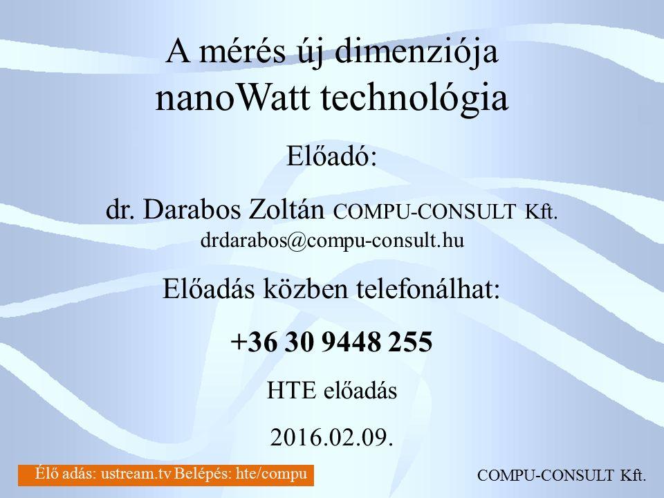 A mérés új dimenziója nanoWatt technológia Előadó: dr. Darabos Zoltán COMPU-CONSULT Kft. drdarabos@compu-consult.hu Előadás közben telefonálhat: +36 3