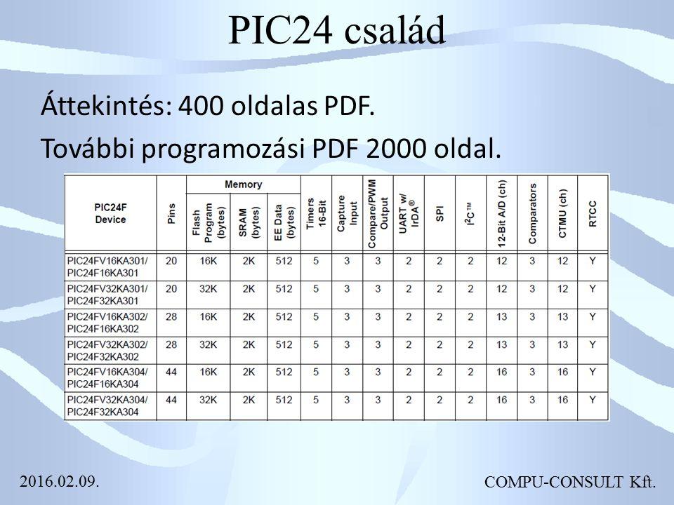PIC24 család Áttekintés: 400 oldalas PDF. További programozási PDF 2000 oldal.
