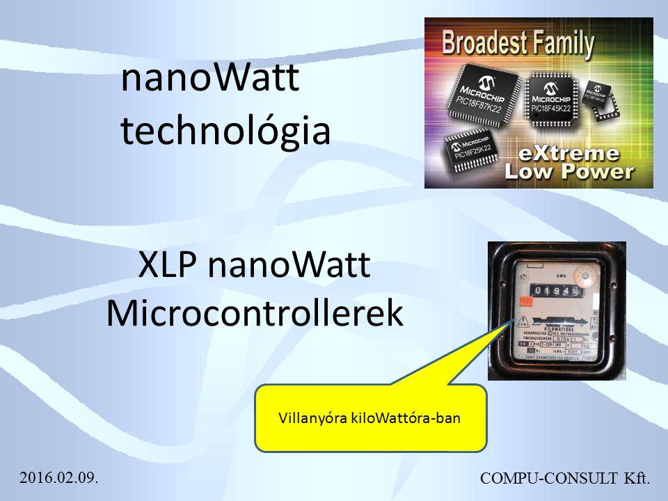 COMPU-CONSULT Kft. nanoWatt technológia XLP nanoWatt Microcontrollerek Villanyóra kiloWattóra-ban 2016.02.09.