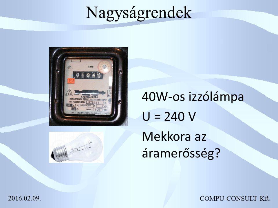 Nagyságrendek 40W-os izzólámpa U = 240 V Mekkora az áramerősség COMPU-CONSULT Kft. 2016.02.09.