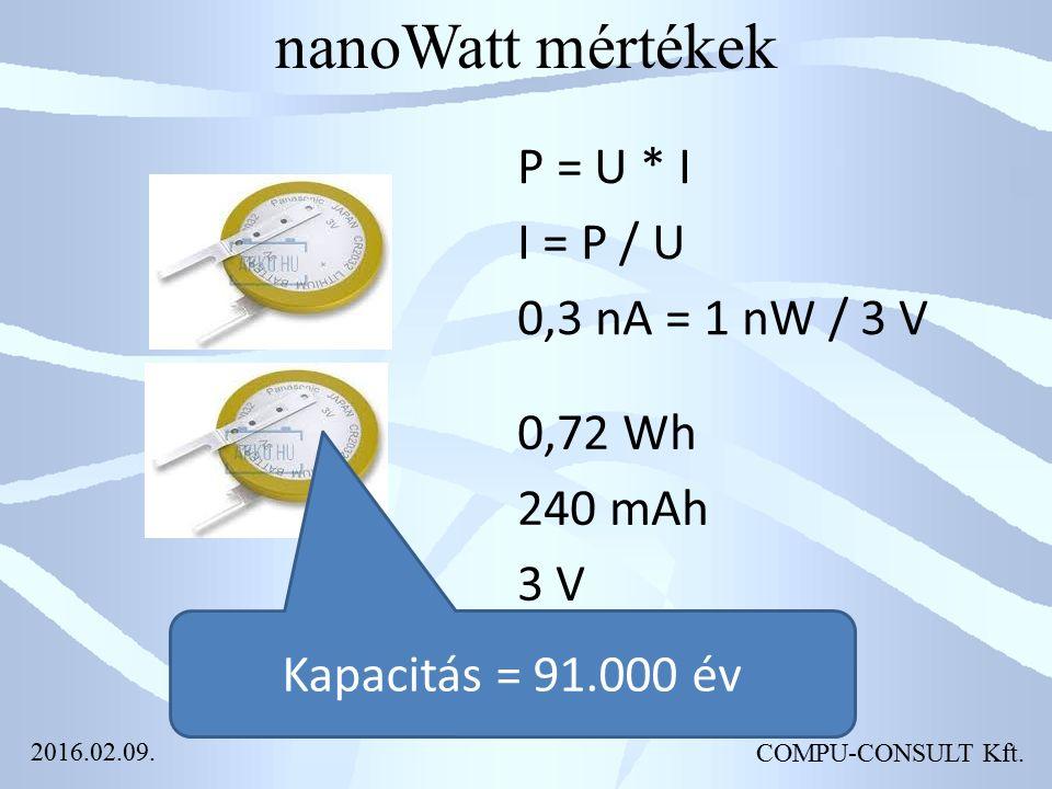 nanoWatt mértékek P = U * I I = P / U 0,3 nA = 1 nW / 3 V Kapacitás = 91.000 év 0,72 Wh 240 mAh 3 V COMPU-CONSULT Kft. 2016.02.09.