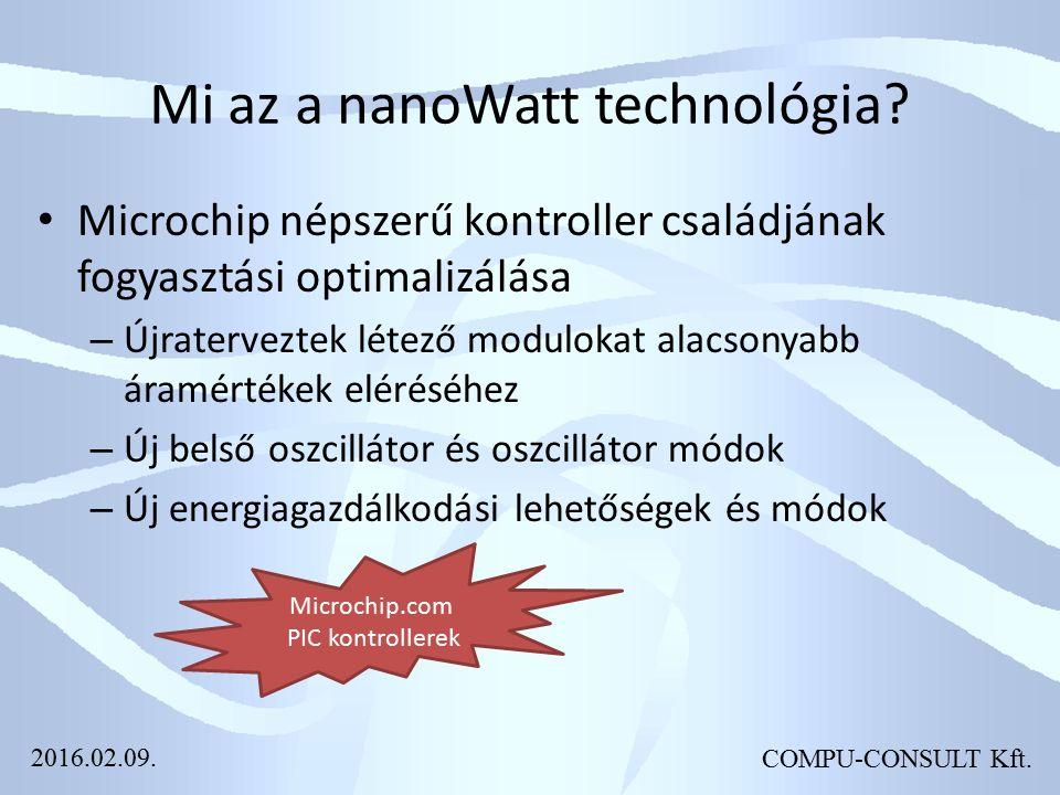 COMPU-CONSULT Kft. Mi az a nanoWatt technológia? Microchip népszerű kontroller családjának fogyasztási optimalizálása – Újraterveztek létező modulokat