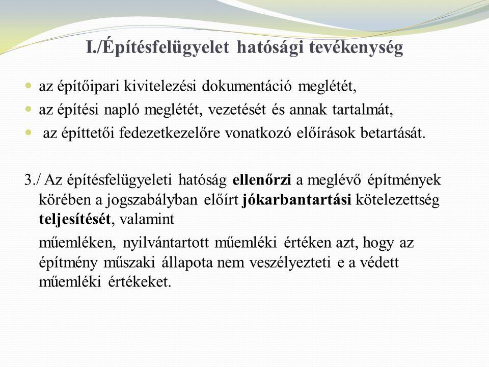 I./Építésfelügyelet hatósági tevékenység az építőipari kivitelezési dokumentáció meglétét, az építési napló meglétét, vezetését és annak tartalmát, az