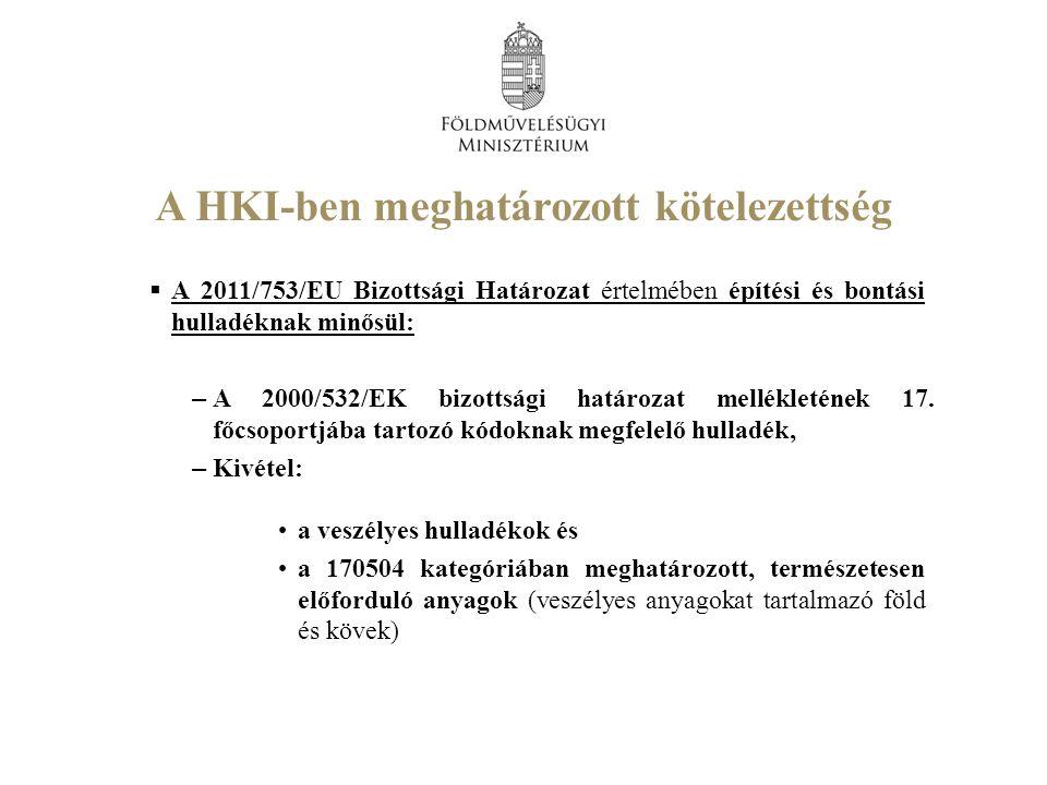 A HKI-ben meghatározott kötelezettség  A 2011/753/EU Bizottsági Határozat értelmében építési és bontási hulladéknak minősül: – A 2000/532/EK bizottsági határozat mellékletének 17.