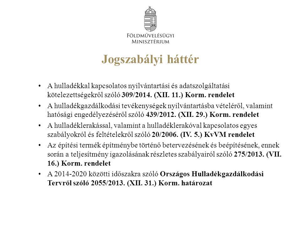 A hulladékkal kapcsolatos nyilvántartási és adatszolgáltatási kötelezettségekről szóló 309/2014.