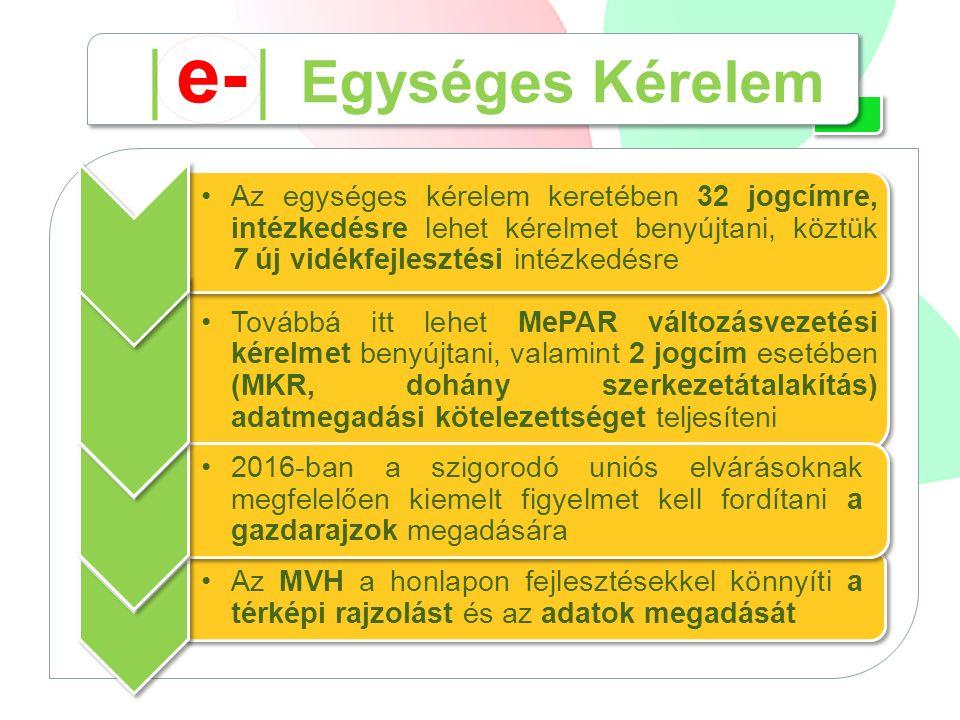 Az MVH a honlapon fejlesztésekkel könnyíti a térképi rajzolást és az adatok megadását 2016-ban a szigorodó uniós elvárásoknak megfelelően kiemelt figyelmet kell fordítani a gazdarajzok megadására Az egységes kérelem keretében 32 jogcímre, intézkedésre lehet kérelmet benyújtani, köztük 7 új vidékfejlesztési intézkedésre Továbbá itt lehet MePAR változásvezetési kérelmet benyújtani, valamint 2 jogcím esetében (MKR, dohány szerkezetátalakítás) adatmegadási kötelezettséget teljesíteni │ e- │ Egységes Kérelem