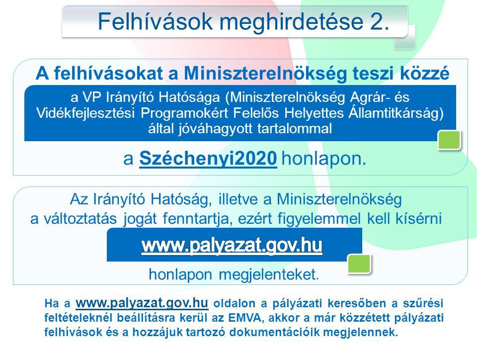 Ha a www.palyazat.gov.hu oldalon a pályázati keresőben a szűrési feltételeknél beállításra kerül az EMVA, akkor a már közzétett pályázati felhívások és a hozzájuk tartozó dokumentációik megjelennek.