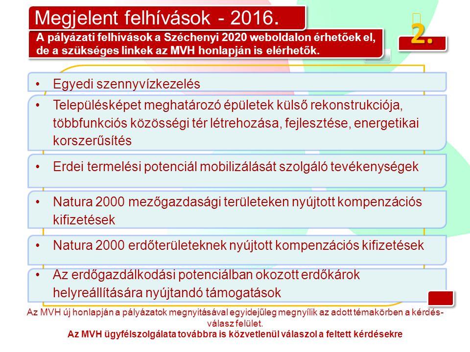 2. Megjelent felhívások - 2016. A pályázati felhívások a Széchenyi 2020 weboldalon érhetőek el, de a szükséges linkek az MVH honlapján is elérhetők. A