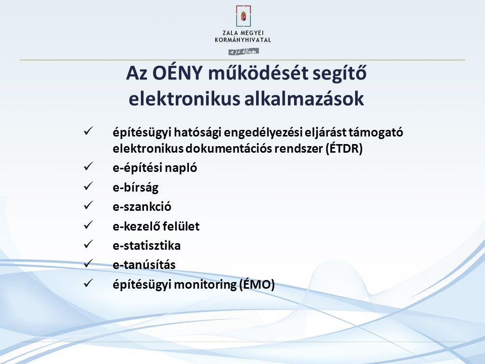 Az OÉNY működését segítő elektronikus alkalmazások építésügyi hatósági engedélyezési eljárást támogató elektronikus dokumentációs rendszer (ÉTDR) e-építési napló e-bírság e-szankció e-kezelő felület e-statisztika e-tanúsítás építésügyi monitoring (ÉMO)