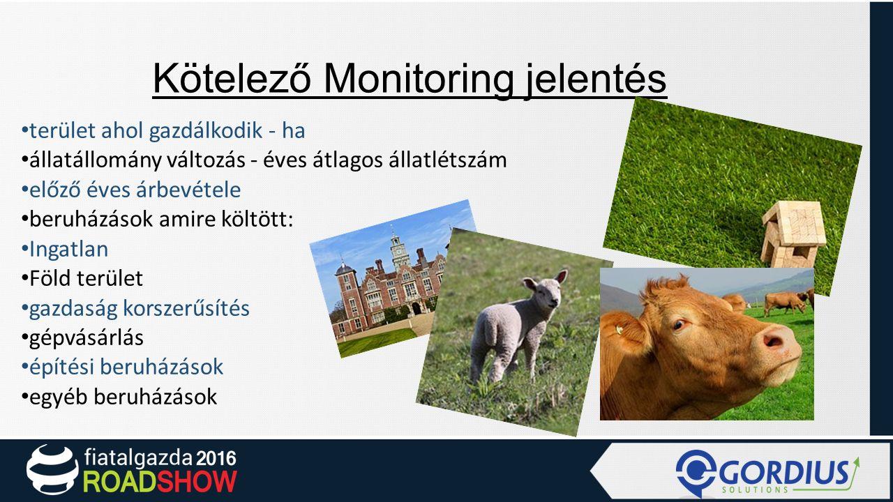 Kötelező monitoring: Kötelező monitoring: Kötelező Monitoring jelentés terület ahol gazdálkodik - ha állatállomány változás - éves átlagos állatlétszá