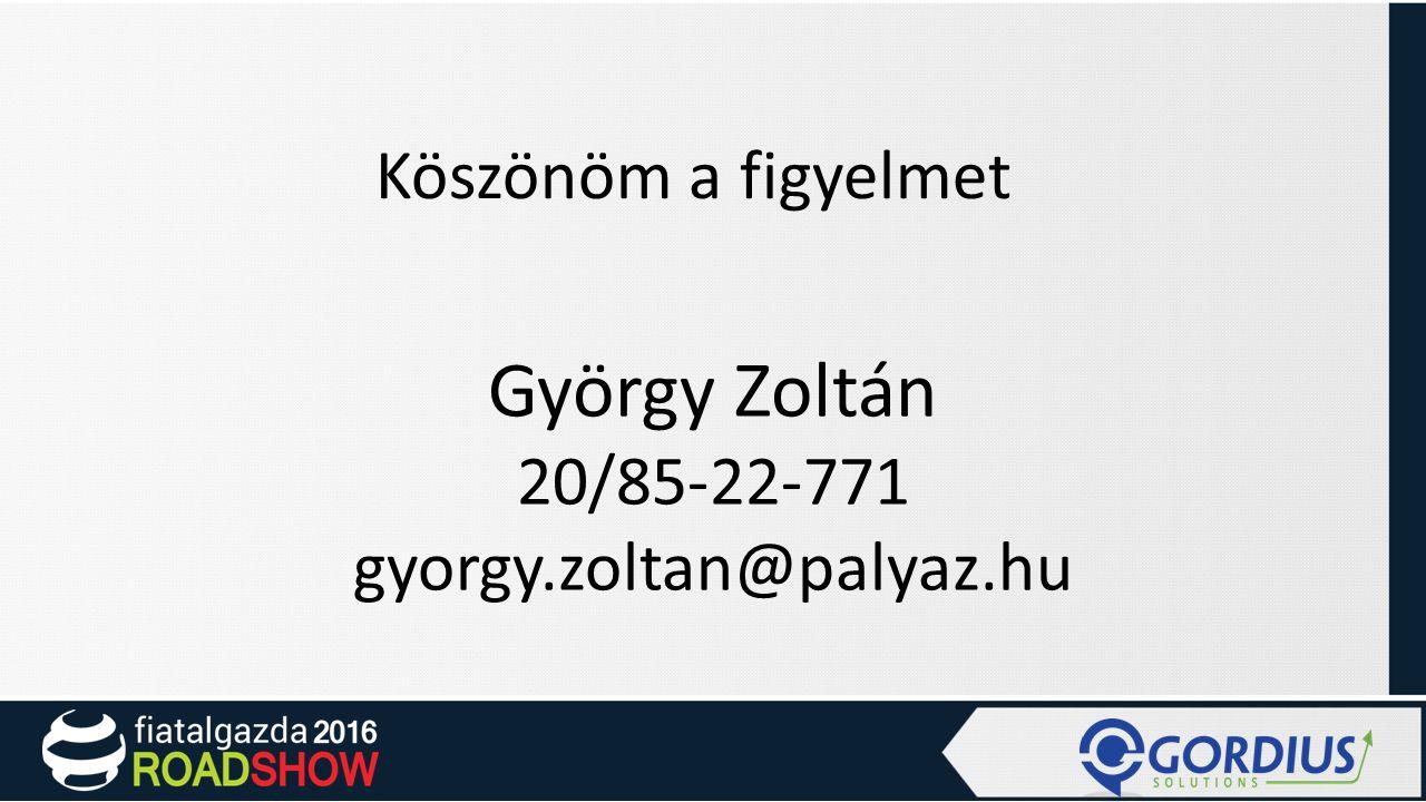Köszönöm a figyelmet György Zoltán 20/85-22-771 gyorgy.zoltan@palyaz.hu