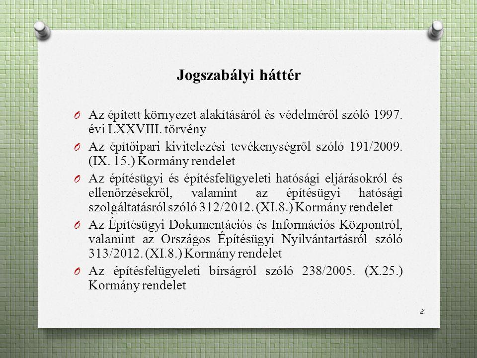 Jogszabályi háttér O Az épített környezet alakításáról és védelméről szóló 1997.