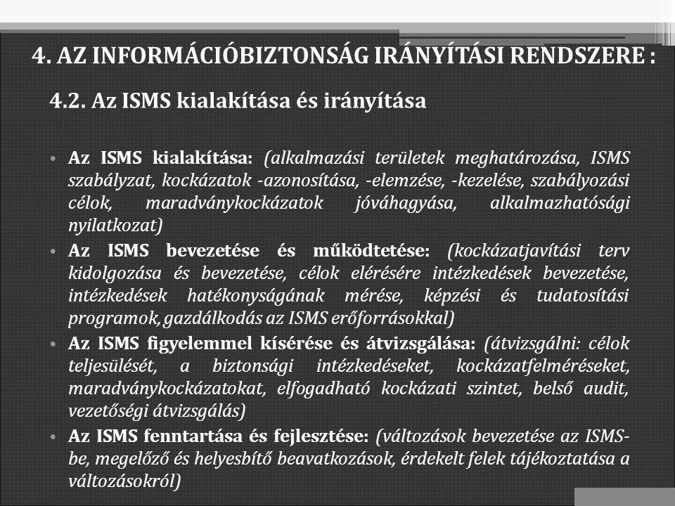 4.2. Az ISMS kialakítása és irányítása Az ISMS kialakítása: (alkalmazási területek meghatározása, ISMS szabályzat, kockázatok -azonosítása, -elemzése,