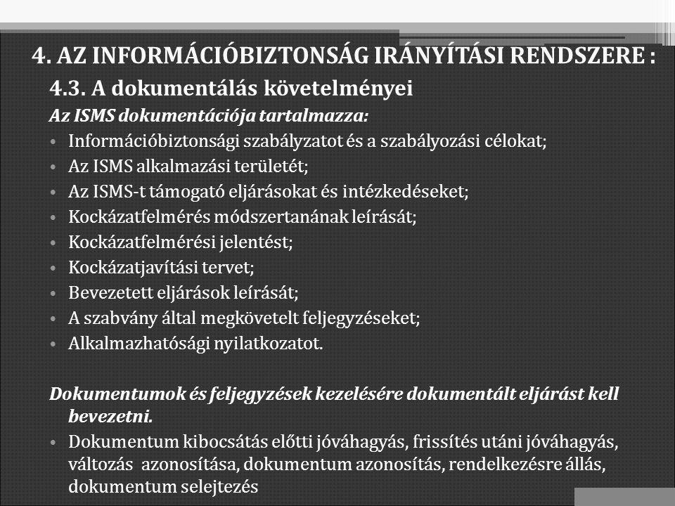 4.3. A dokumentálás követelményei Az ISMS dokumentációja tartalmazza: Információbiztonsági szabályzatot és a szabályozási célokat; Az ISMS alkalmazási