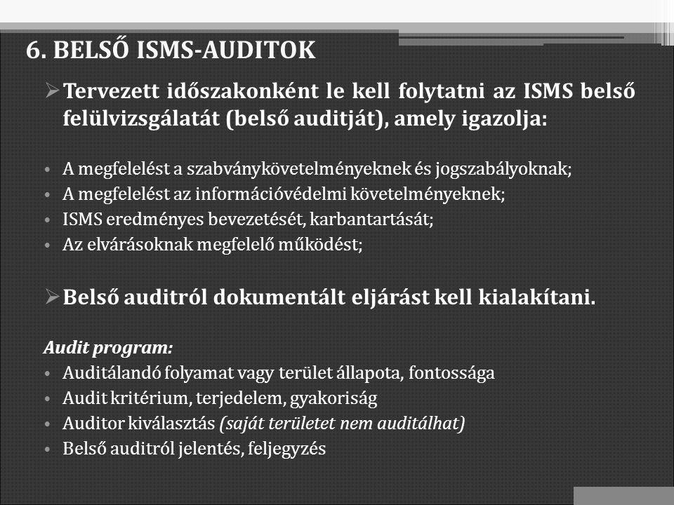 6. BELSŐ ISMS-AUDITOK  Tervezett időszakonként le kell folytatni az ISMS belső felülvizsgálatát (belső auditját), amely igazolja: A megfelelést a sza