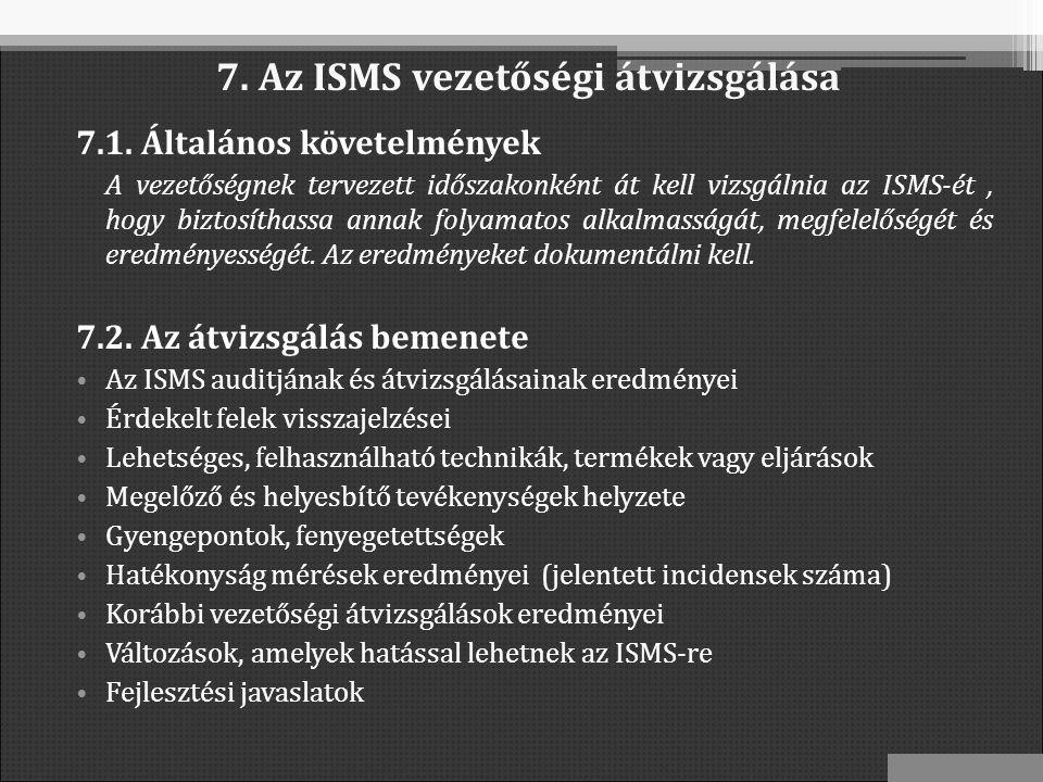 7. Az ISMS vezetőségi átvizsgálása 7.1.