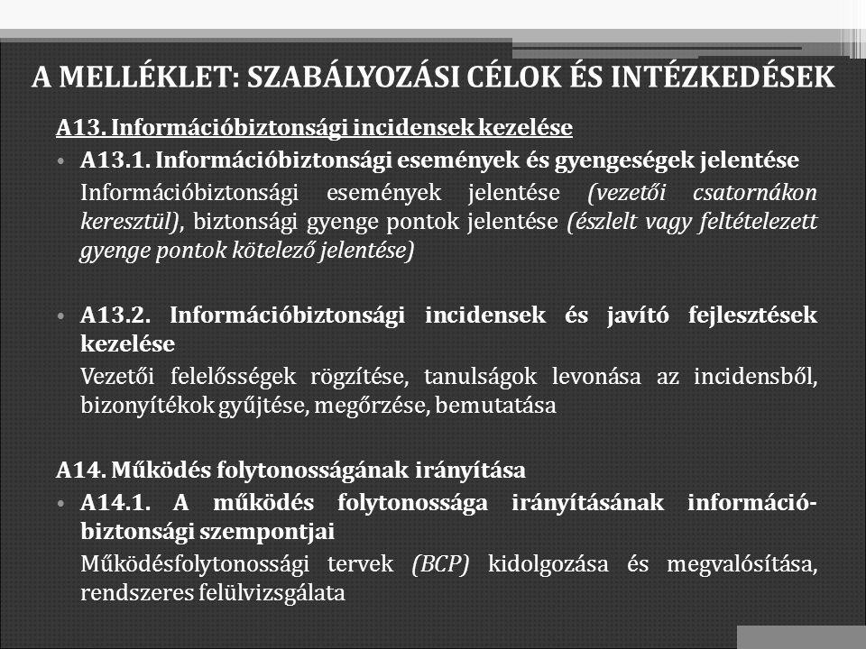 A13. Információbiztonsági incidensek kezelése A13.1.