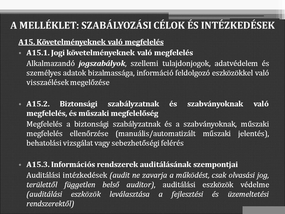 A15. Követelményeknek való megfelelés A15.1.