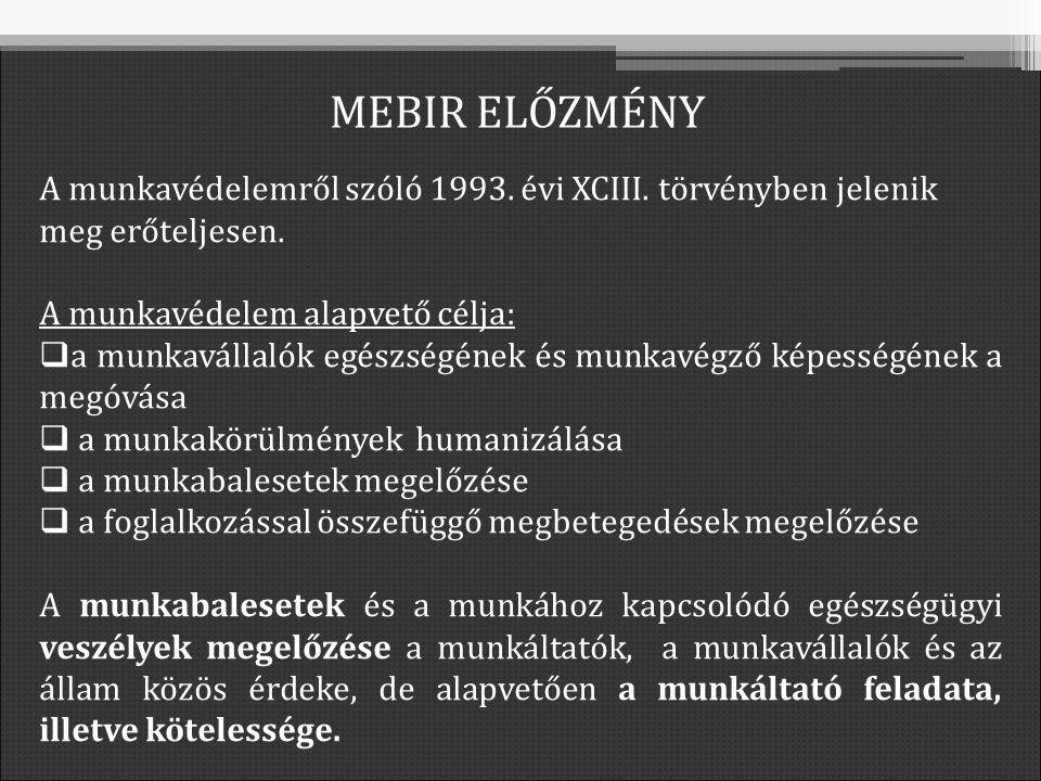 MEBIR ELŐZMÉNY A munkavédelemről szóló 1993. évi XCIII.
