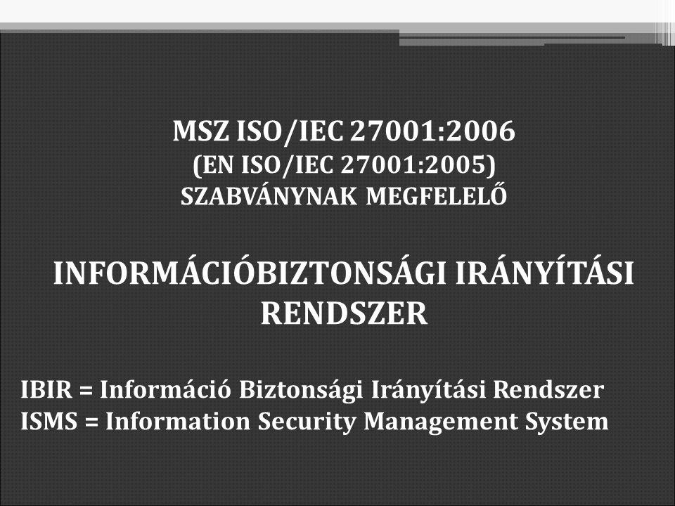 MSZ ISO/IEC 27001:2006 (EN ISO/IEC 27001:2005) SZABVÁNYNAK MEGFELELŐ INFORMÁCIÓBIZTONSÁGI IRÁNYÍTÁSI RENDSZER IBIR = Információ Biztonsági Irányítási Rendszer ISMS = Information Security Management System