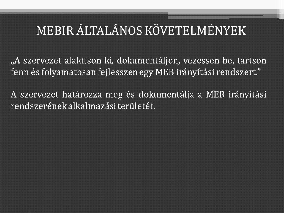 """""""A szervezet alakítson ki, dokumentáljon, vezessen be, tartson fenn és folyamatosan fejlesszen egy MEB irányítási rendszert. A szervezet határozza meg és dokumentálja a MEB irányítási rendszerének alkalmazási területét."""