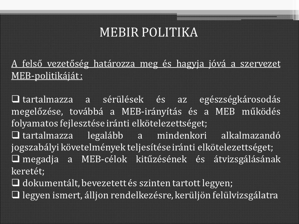 A felső vezetőség határozza meg és hagyja jóvá a szervezet MEB-politikáját :  tartalmazza a sérülések és az egészségkárosodás megelőzése, továbbá a MEB-irányítás és a MEB működés folyamatos fejlesztése iránti elkötelezettséget;  tartalmazza legalább a mindenkori alkalmazandó jogszabályi követelmények teljesítése iránti elkötelezettséget;  megadja a MEB-célok kitűzésének és átvizsgálásának keretét;  dokumentált, bevezetett és szinten tartott legyen;  legyen ismert, álljon rendelkezésre, kerüljön felülvizsgálatra MEBIR POLITIKA