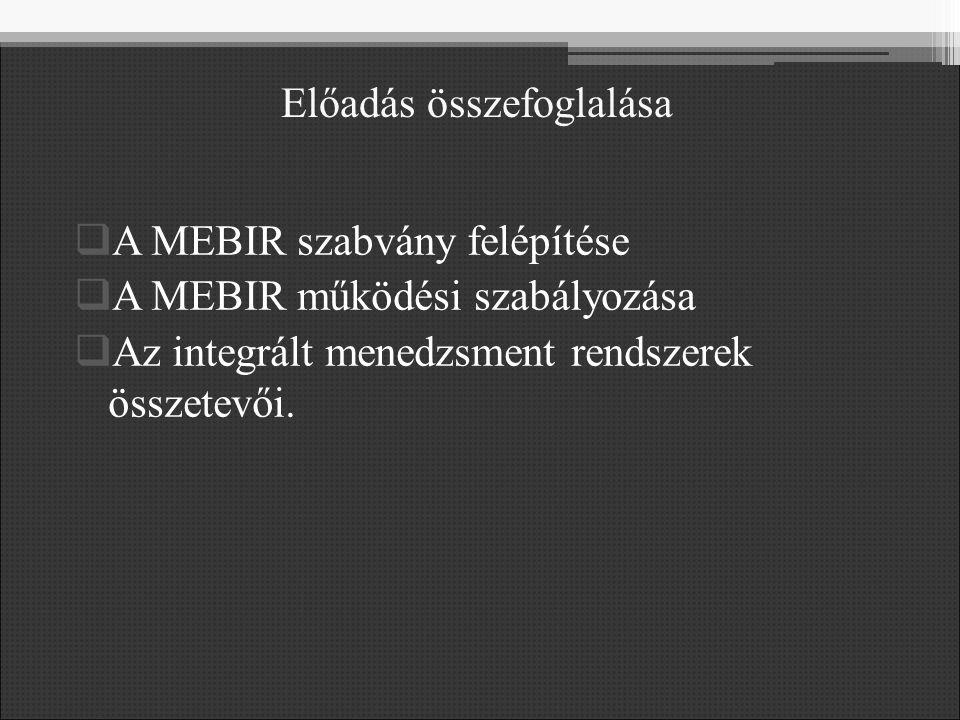 Előadás összefoglalása  A MEBIR szabvány felépítése  A MEBIR működési szabályozása  Az integrált menedzsment rendszerek összetevői.
