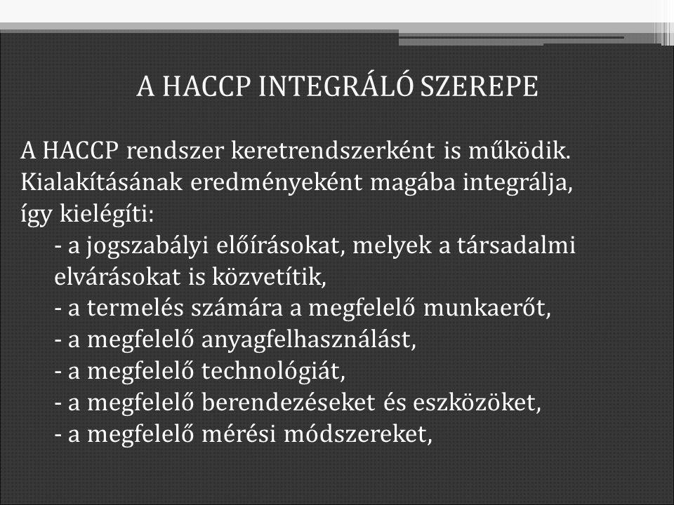 A HACCP rendszer keretrendszerként is működik.