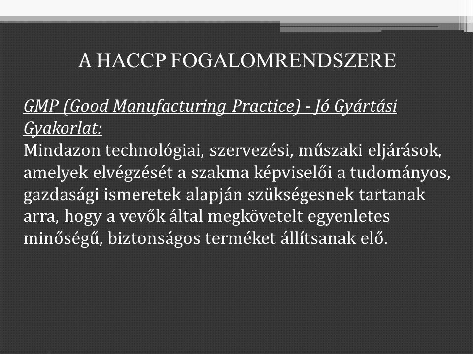 GMP (Good Manufacturing Practice) - Jó Gyártási Gyakorlat: Mindazon technológiai, szervezési, műszaki eljárások, amelyek elvégzését a szakma képviselői a tudományos, gazdasági ismeretek alapján szükségesnek tartanak arra, hogy a vevők által megkövetelt egyenletes minőségű, biztonságos terméket állítsanak elő.