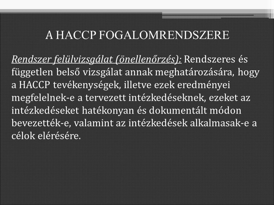 Rendszer felülvizsgálat (önellenőrzés): Rendszeres és független belső vizsgálat annak meghatározására, hogy a HACCP tevékenységek, illetve ezek eredményei megfelelnek-e a tervezett intézkedéseknek, ezeket az intézkedéseket hatékonyan és dokumentált módon bevezették-e, valamint az intézkedések alkalmasak-e a célok elérésére.