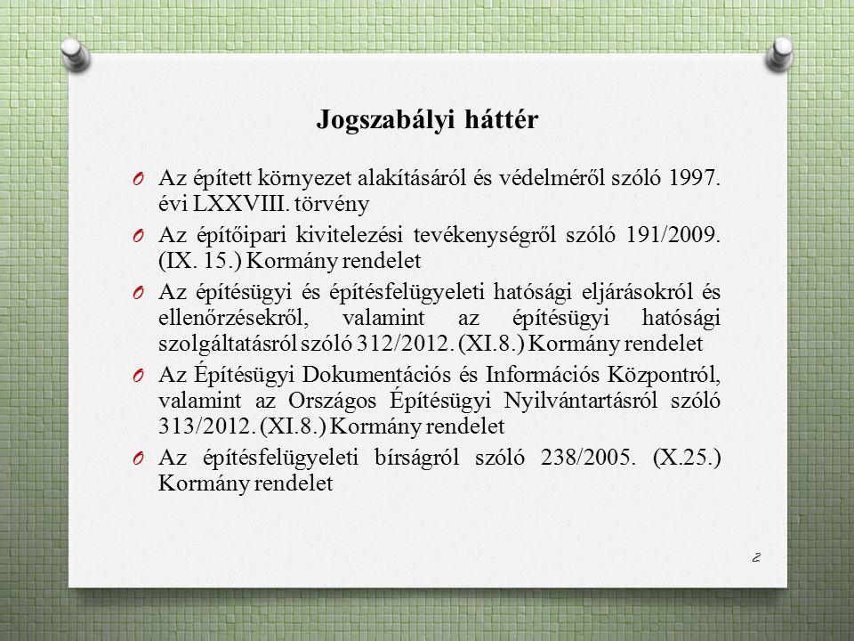 Jogszabályi háttér O Az épített környezet alakításáról és védelméről szóló 1997. évi LXXVIII. törvény O Az építőipari kivitelezési tevékenységről szól