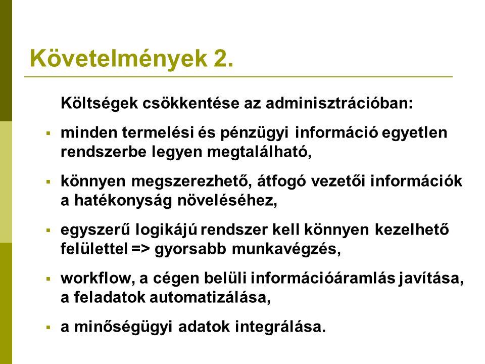 Követelmények 2. Költségek csökkentése az adminisztrációban:  minden termelési és pénzügyi információ egyetlen rendszerbe legyen megtalálható,  könn
