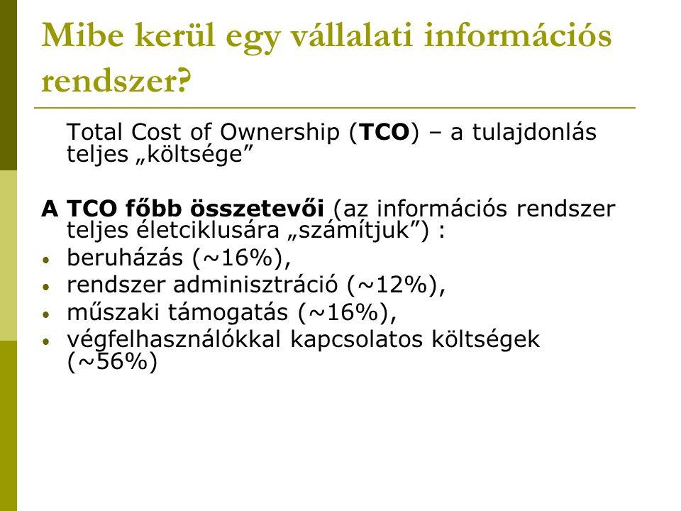 TCO – beruházás ráfordításai hardver szoftver egyéb IT infrastruktúra (kommunikációs hálózat) konfigurálás Ezek egzakt módon meghatározhatók, hiszen számlák vannak róluk…
