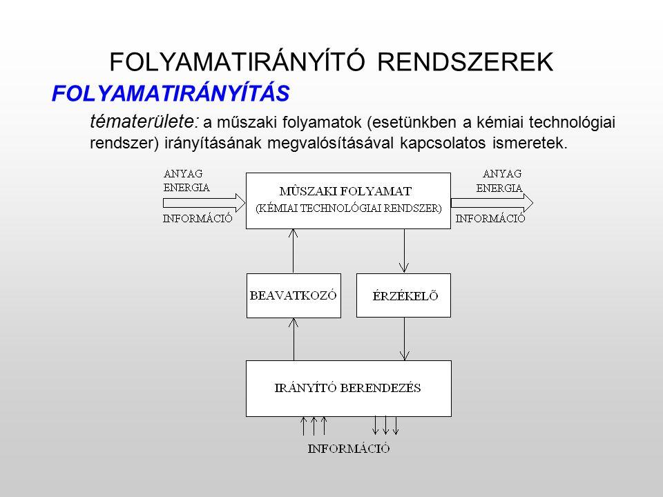FOLYAMATIRÁNYÍTÓ RENDSZEREK FOLYAMATIRÁNYÍTÁS tématerülete: a műszaki folyamatok (esetünkben a kémiai technológiai rendszer) irányításának megvalósításával kapcsolatos ismeretek.
