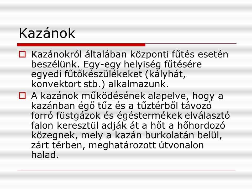Kazánok  Kazánokról általában központi fűtés esetén beszélünk. Egy-egy helyiség fűtésére egyedi fűtőkészülékeket (kályhát, konvektort stb.) alkalmazu