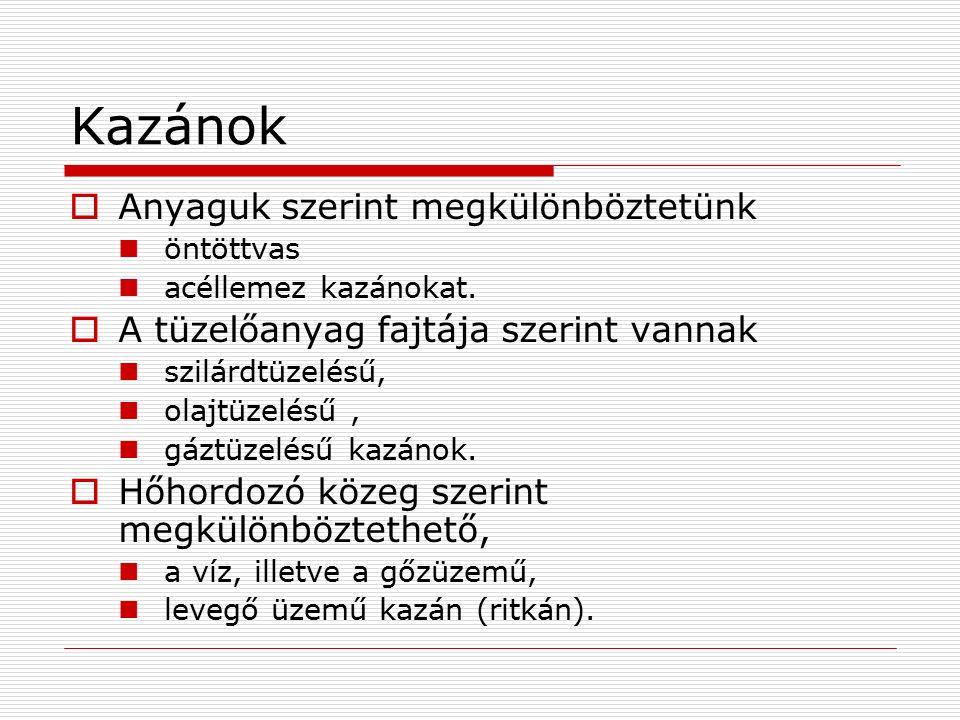 Kazánok  Anyaguk szerint megkülönböztetünk öntöttvas acéllemez kazánokat.  A tüzelőanyag fajtája szerint vannak szilárdtüzelésű, olajtüzelésű, gáztü