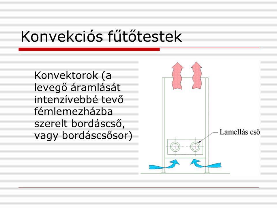 Konvekciós fűtőtestek Konvektorok (a levegő áramlását intenzívebbé tevő fémlemezházba szerelt bordáscső, vagy bordáscsősor)