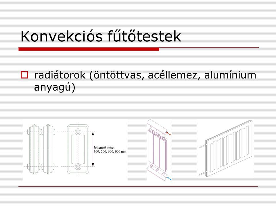 Konvekciós fűtőtestek  radiátorok (öntöttvas, acéllemez, alumínium anyagú)