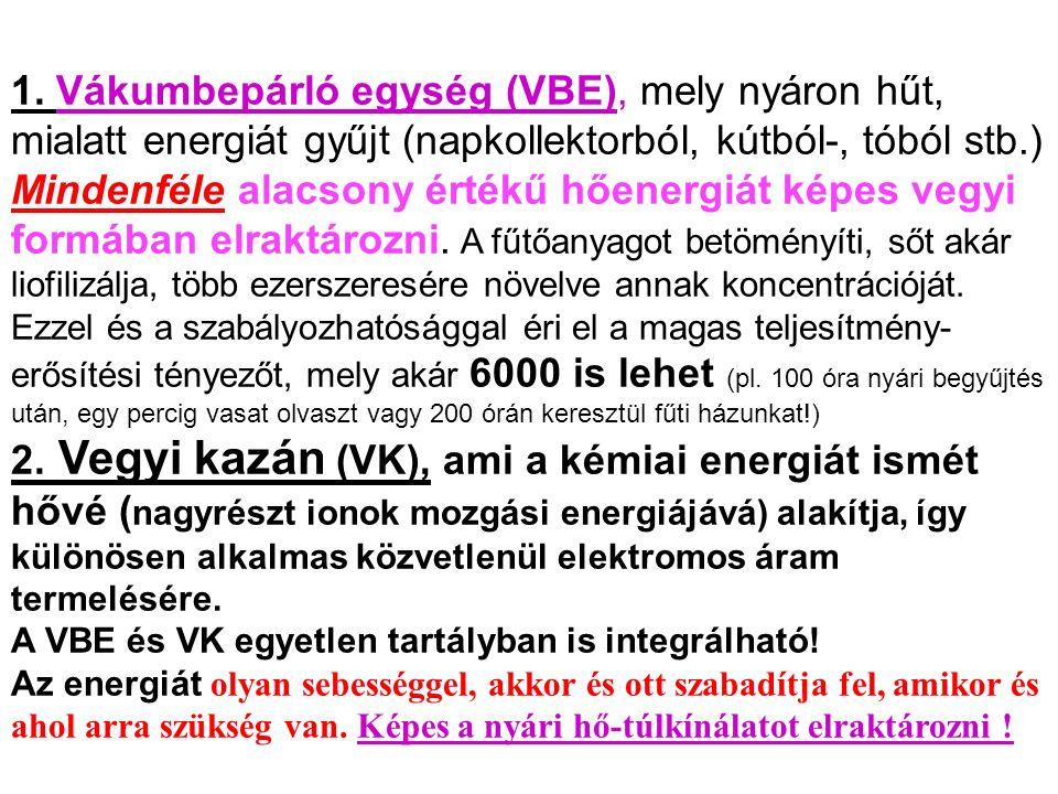 1. Vákumbepárló egység (VBE), mely nyáron hűt, mialatt energiát gyűjt (napkollektorból, kútból-, tóból stb.) Mindenféle alacsony értékű hőenergiát kép