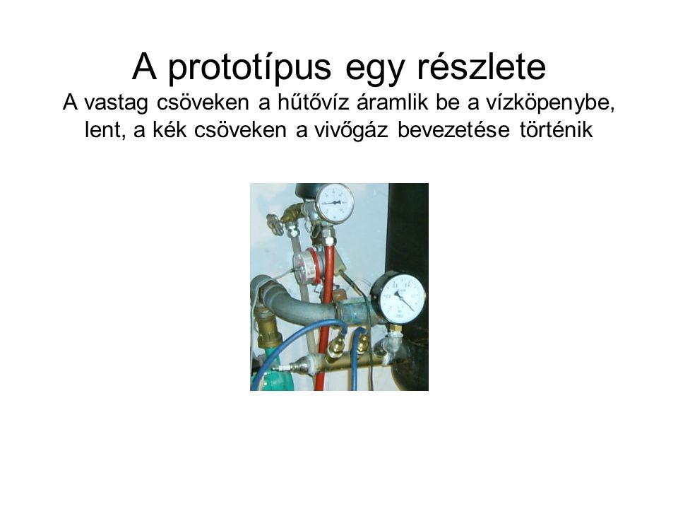 A prototípus egy részlete A vastag csöveken a hűtővíz áramlik be a vízköpenybe, lent, a kék csöveken a vivőgáz bevezetése történik