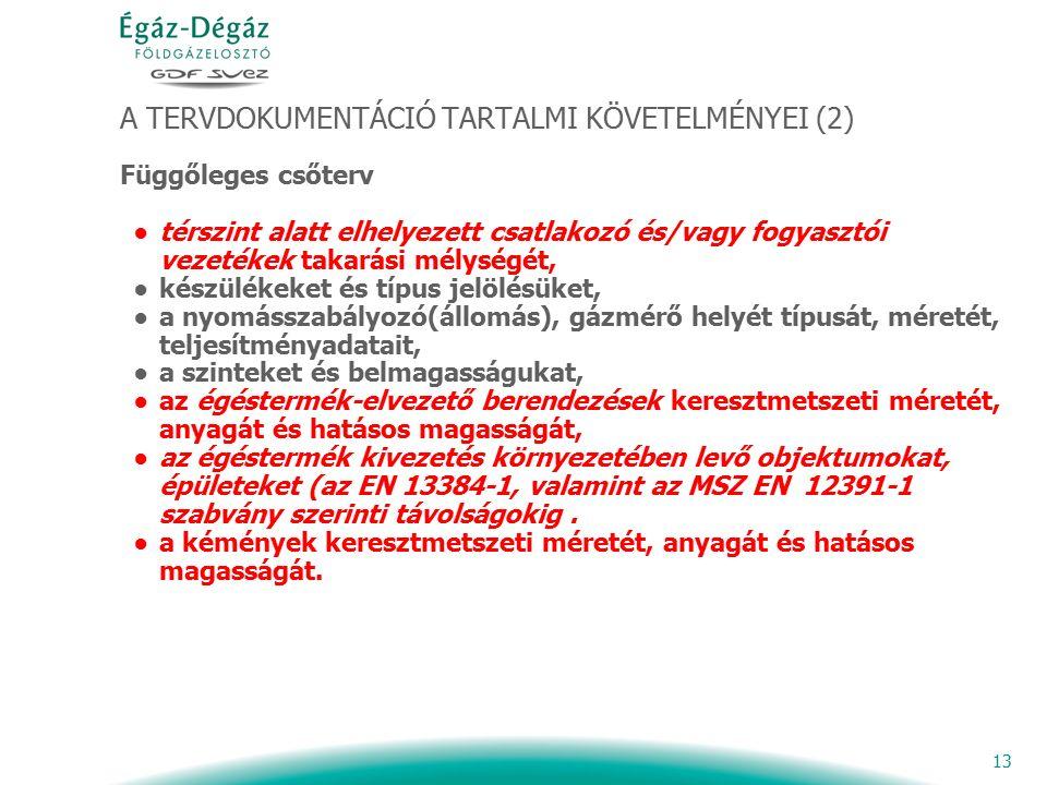 13 A TERVDOKUMENTÁCIÓ TARTALMI KÖVETELMÉNYEI (2) Függőleges csőterv ●térszint alatt elhelyezett csatlakozó és/vagy fogyasztói vezetékek takarási mélys