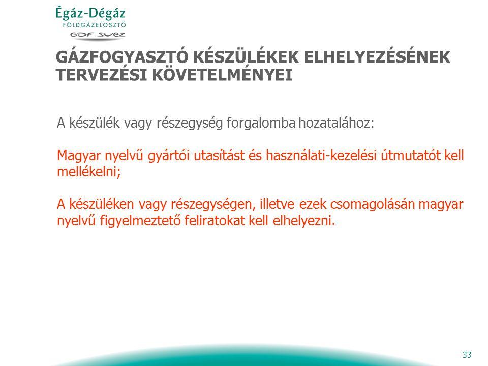 33 GÁZFOGYASZTÓ KÉSZÜLÉKEK ELHELYEZÉSÉNEK TERVEZÉSI KÖVETELMÉNYEI A készülék vagy részegység forgalomba hozatalához: Magyar nyelvű gyártói utasítást és használati-kezelési útmutatót kell mellékelni; A készüléken vagy részegységen, illetve ezek csomagolásán magyar nyelvű figyelmeztető feliratokat kell elhelyezni.