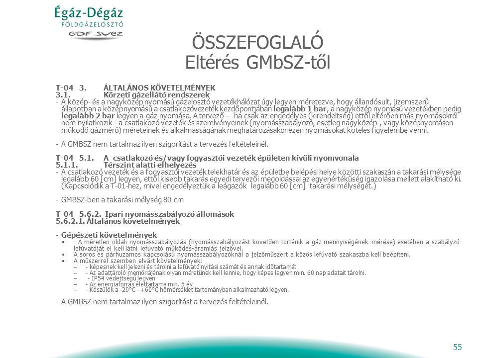 55 ÖSSZEFOGLALÓ Eltérés GMbSZ-től T-04 3. ÁLTALÁNOS KÖVETELMÉNYEK 3.1.