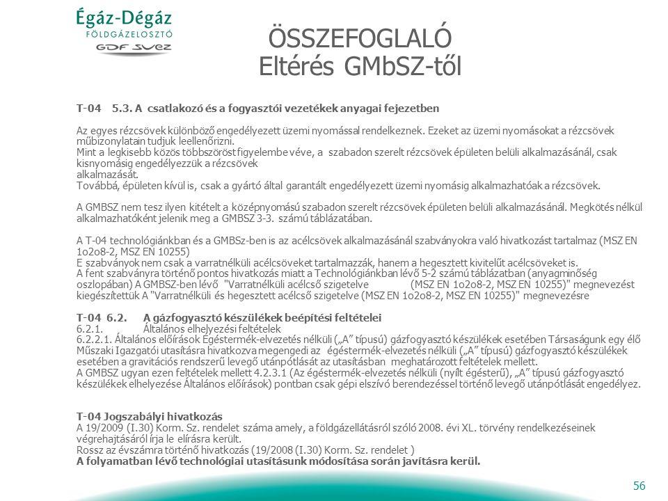 56 ÖSSZEFOGLALÓ Eltérés GMbSZ-től T-04 5.3.