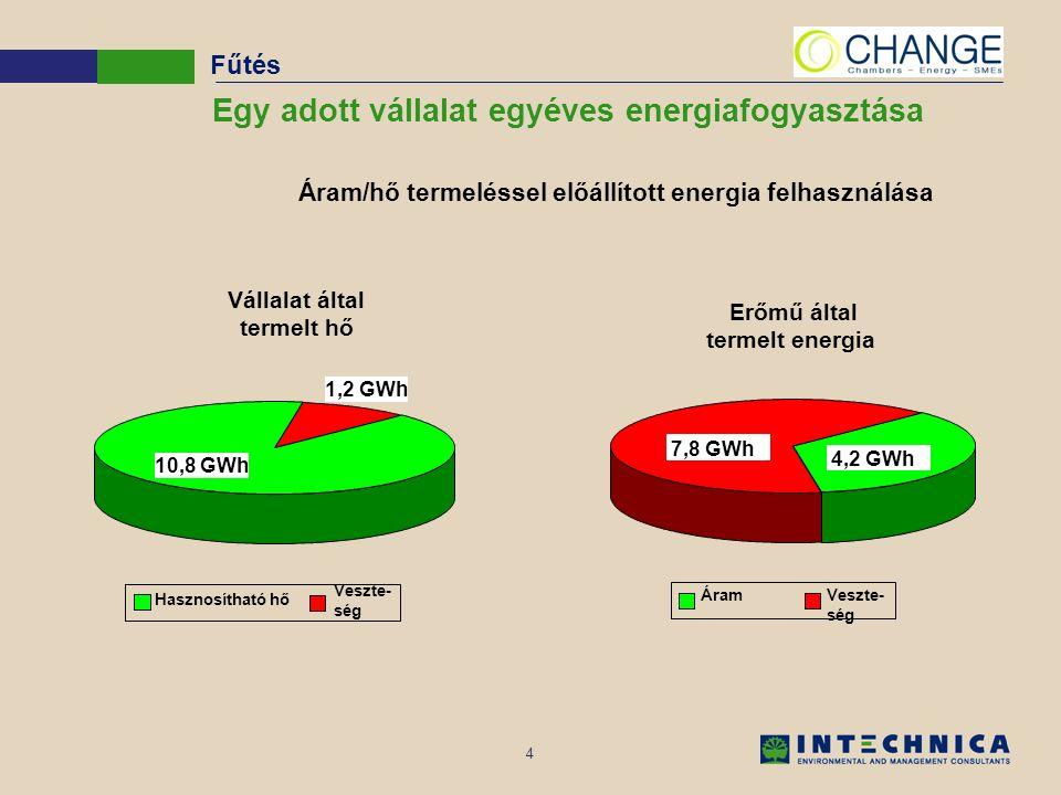 4 Egy adott vállalat egyéves energiafogyasztása Vállalat által termelt hő 1,2 GWh Hasznosítható hő Veszte- ség 10,8 GWh Erőmű által termelt energia ÁramVeszte- ség 7,8 GWh 4,2 GWh Áram/hő termeléssel előállított energia felhasználása Fűtés