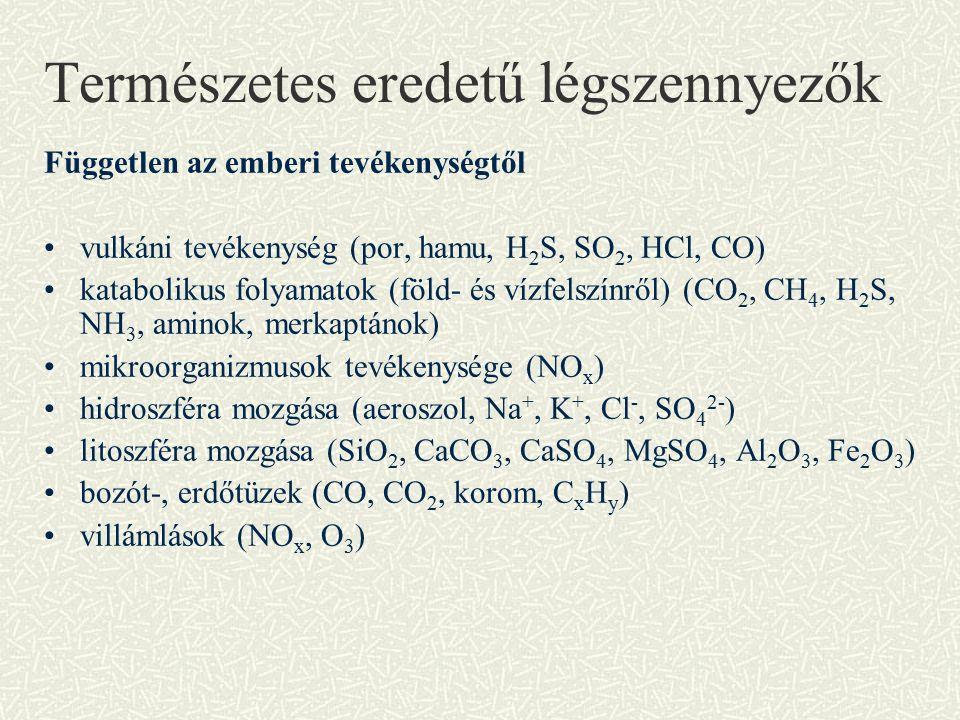 Természetes eredetű légszennyezők Független az emberi tevékenységtől vulkáni tevékenység (por, hamu, H 2 S, SO 2, HCl, CO) katabolikus folyamatok (föld- és vízfelszínről) (CO 2, CH 4, H 2 S, NH 3, aminok, merkaptánok) mikroorganizmusok tevékenysége (NO x ) hidroszféra mozgása (aeroszol, Na +, K +, Cl -, SO 4 2- ) litoszféra mozgása (SiO 2, CaCO 3, CaSO 4, MgSO 4, Al 2 O 3, Fe 2 O 3 ) bozót-, erdőtüzek (CO, CO 2, korom, C x H y ) villámlások (NO x, O 3 )